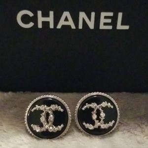 Chanel button earrings with rhinestones